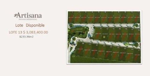 lote residencial de 1,233m2 en privada artisana, temozon norte