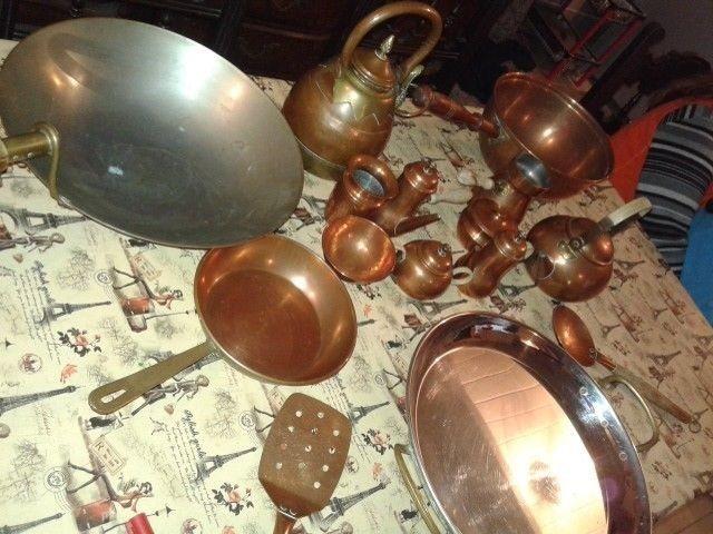Lote Sarten Cocina Juego Bronce Antiguo Paellera Perol Etc ...