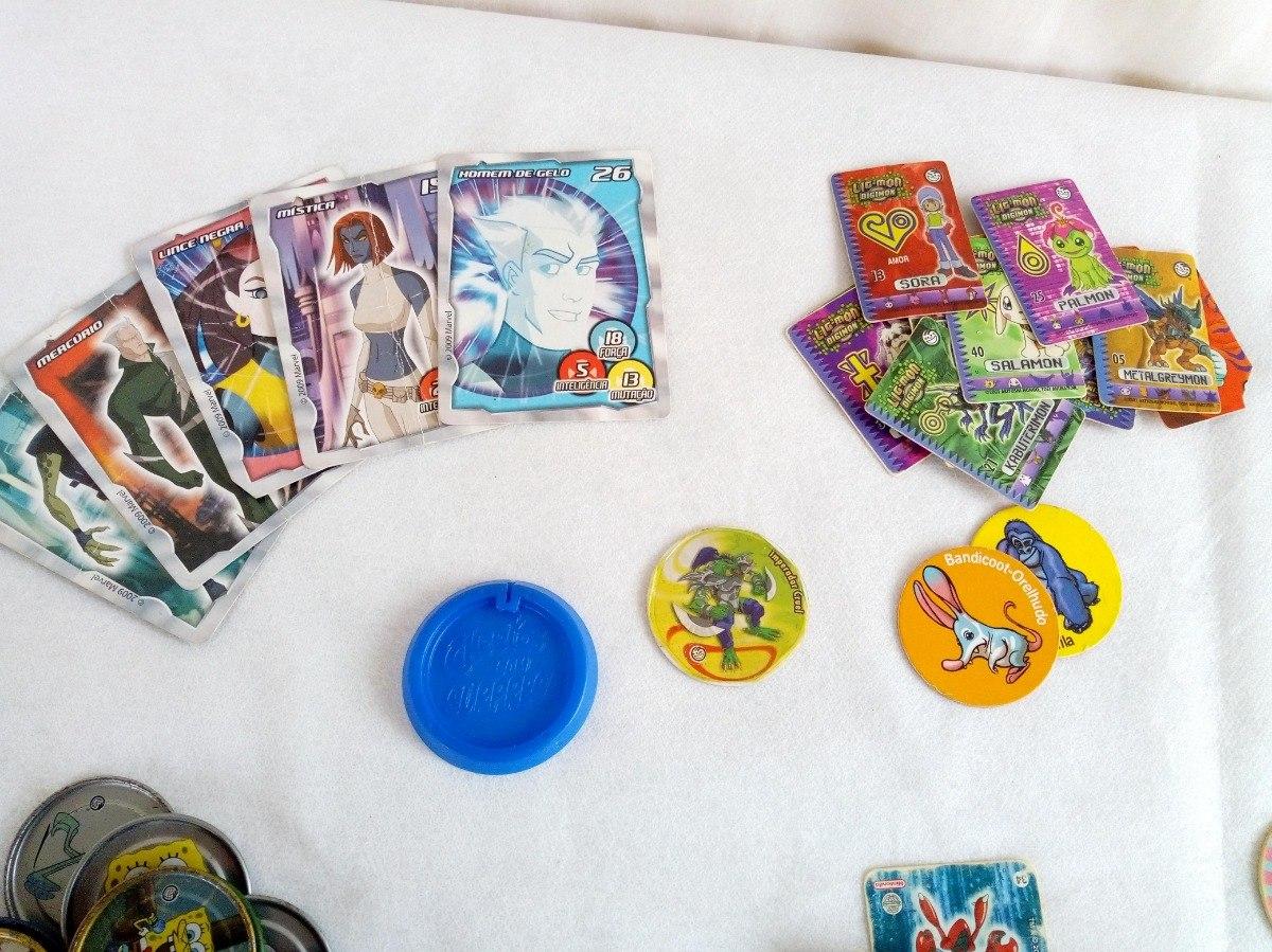 2c743ec7cbb Lote Tazos Elma Chips Pokemon Digimon Bob Esponja   Outros - R  99 ...