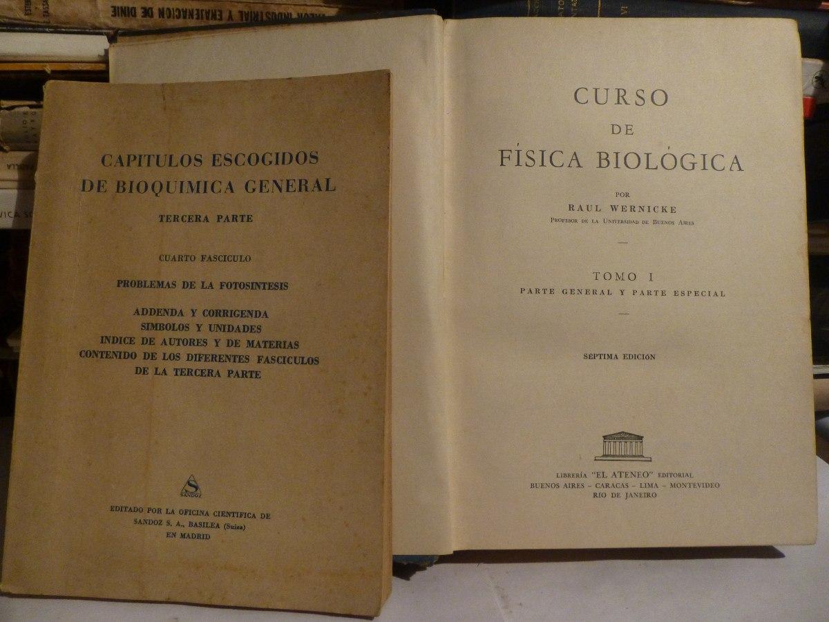 Lote X 2 Libros Antiguos Bioquimica Fisica Biologica 37696 En