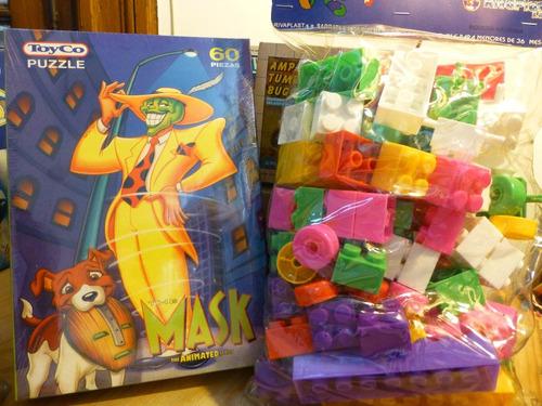 lote x 2, rompecabezas mask y bolsa bloques 84 piezas,nuevos