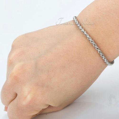 lote x mayor 4 pulseras espiga de acero quirúrgico 3 y 4 mm
