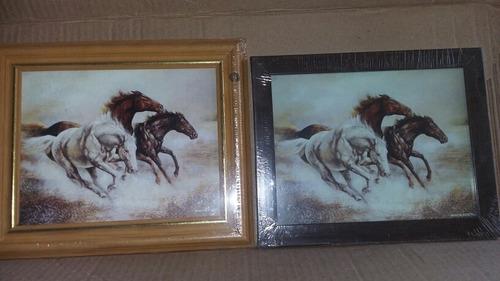 lote x2 cuadro caballos marco madera