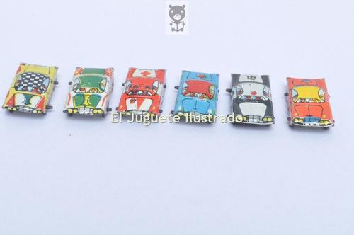 lote x6 autos lata litografiada juguete cotillon antiguo