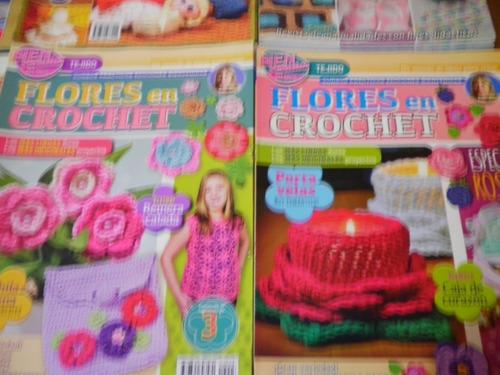 lote x6 revistas tejidos crochet flores deco tunecino palerm