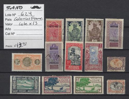 lote624 colonias francesas lote de 13 estampillas antiguas