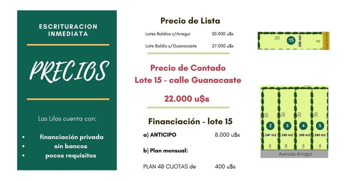 loteo en venta oportunidad 240m2 a excelente precio o financia a metro ruta 8