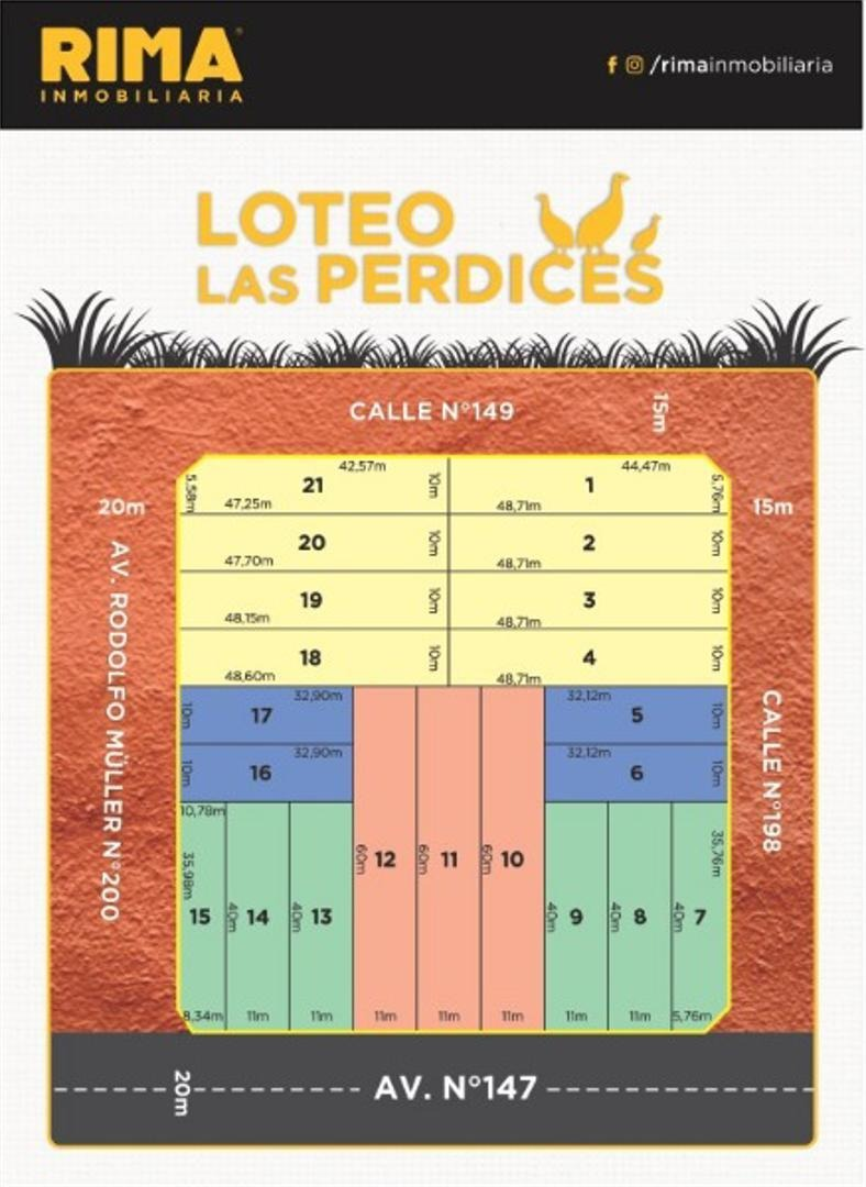loteo las perdices en venta - lote de 10 x 48 mts