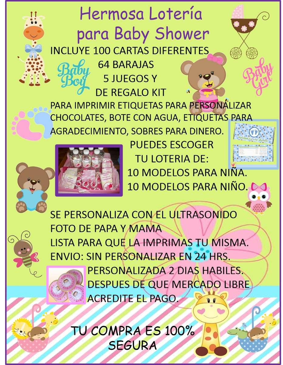 Loteria Baby Shower 100 Cartas Imprimible! - $ 180.00 en Mercado Libre