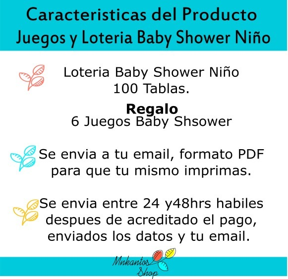 Loteria Baby Shower Niño 100 Tablas Kit Imprimible - $ 260.00 en ...