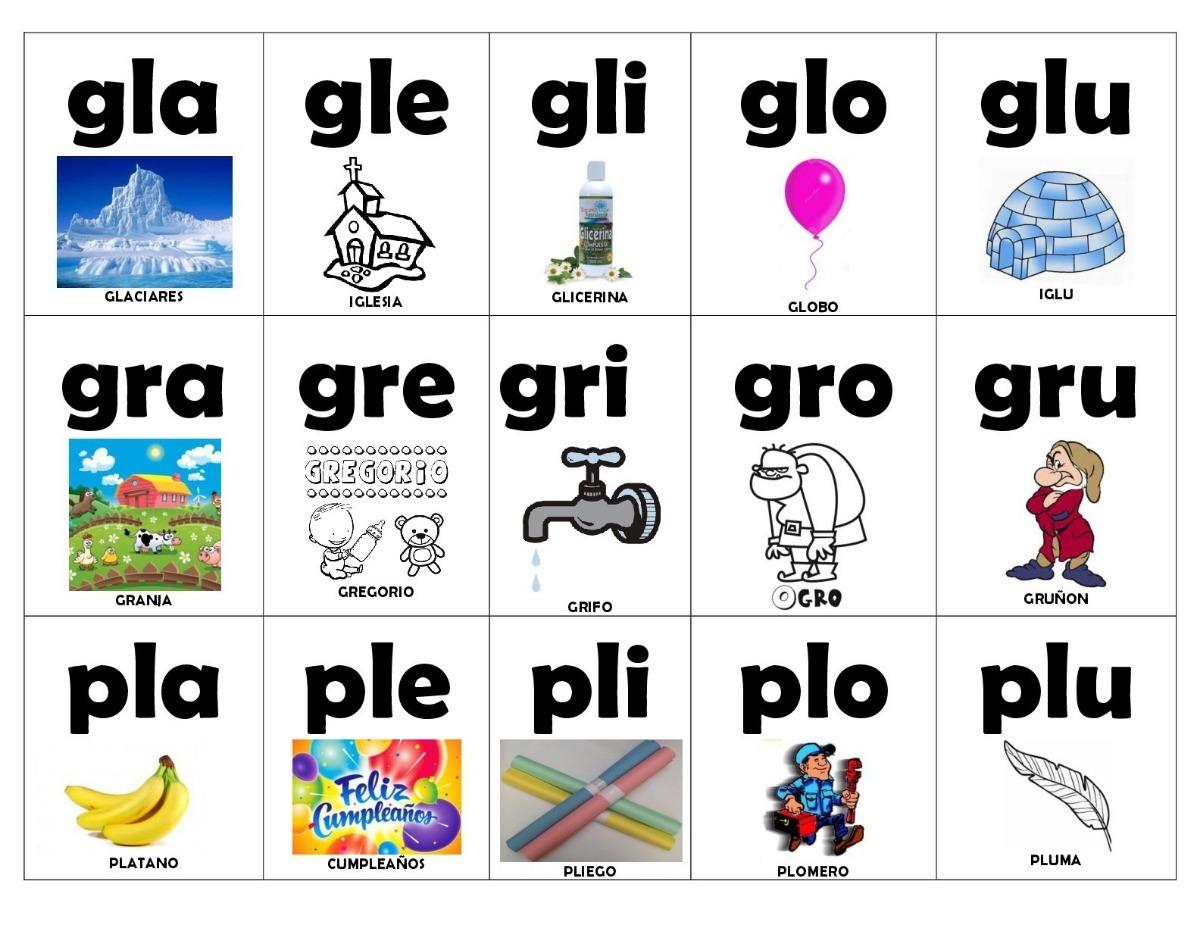 Silaba Dibujo: Lotería De Silabas Trabadas Para Imprimir