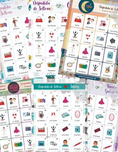 lotería despedida de soltera personalizada 60 tablas