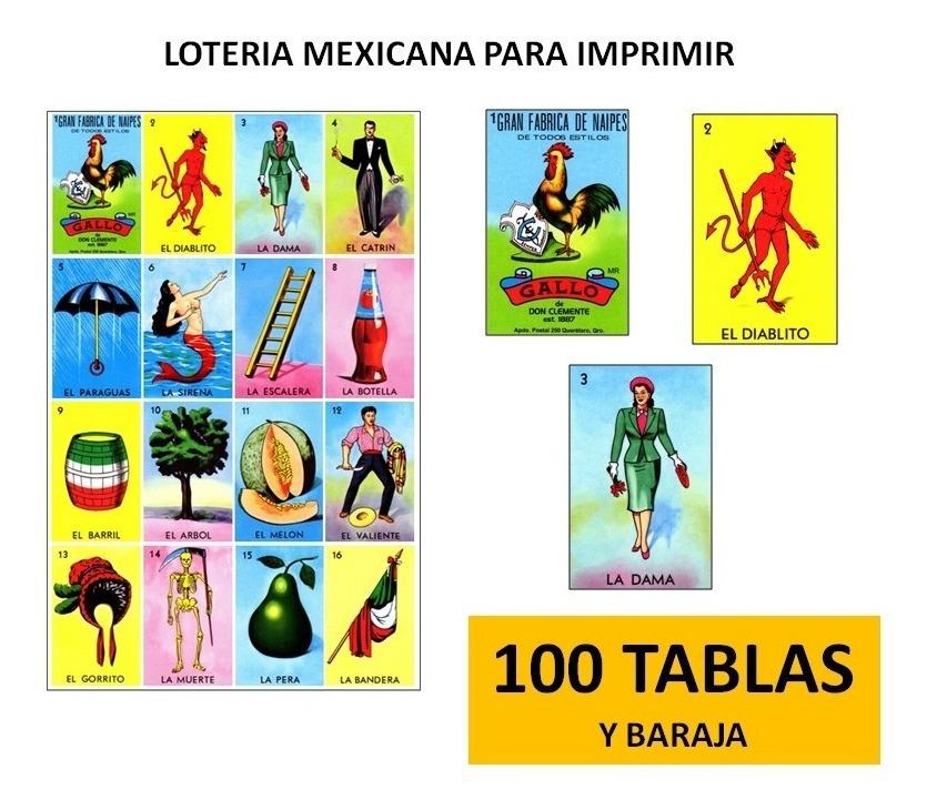 Loteria Mexicana Con Baraja Imprimible 100 Cartas - $ 100 ...