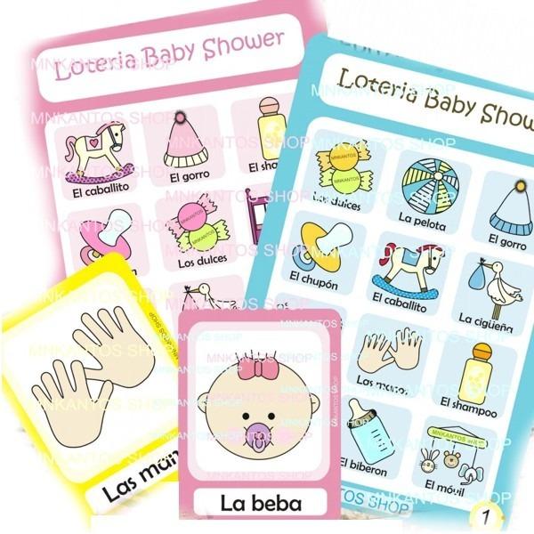 Loteria Para Baby Shower Juegos Kit Imprimible Hermoso 150 00