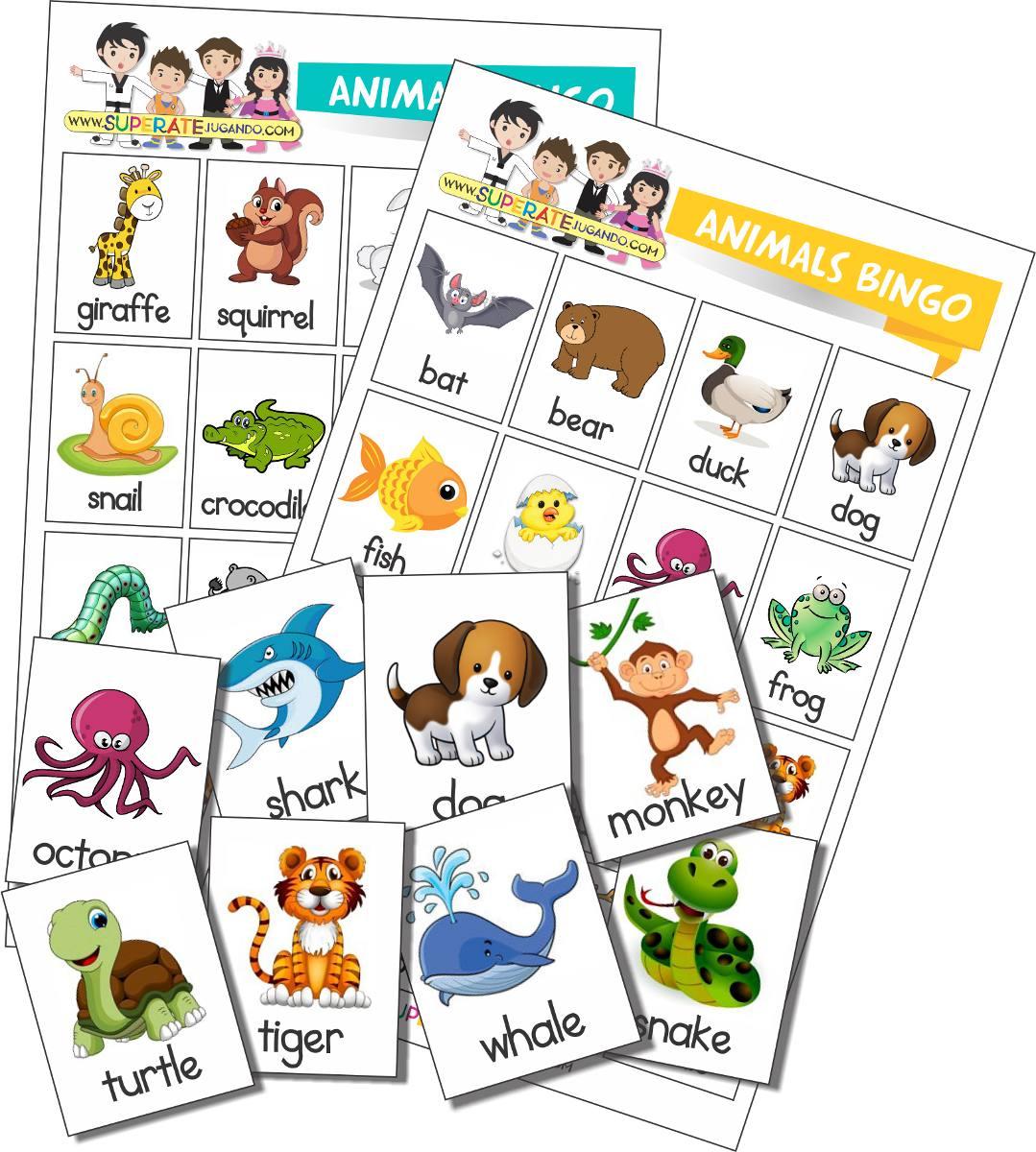 Loteria Para Imprimir Animales En Ingles Aprender Ingles