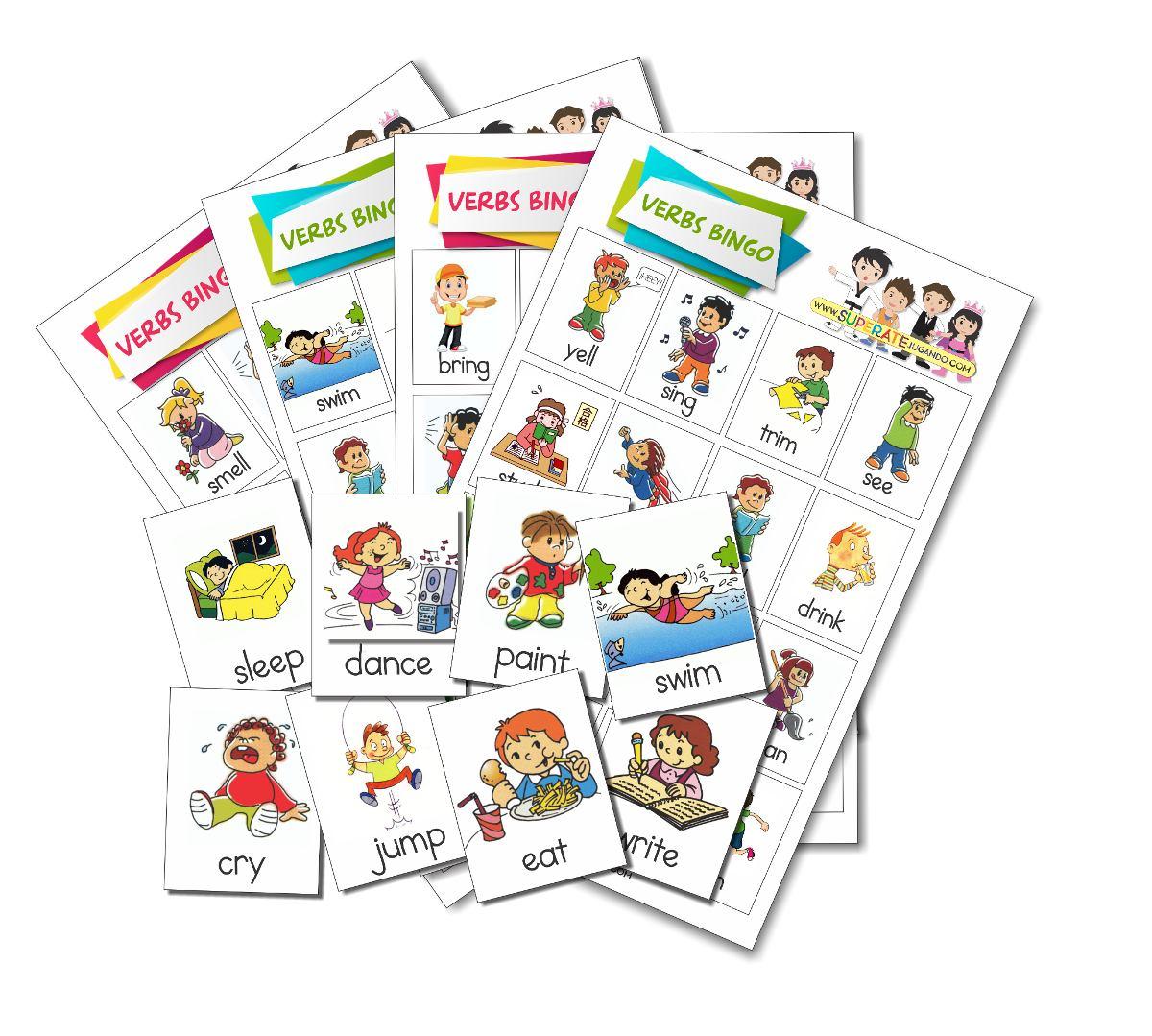 Loteria Para Imprimir Verbos En Ingles Aprender Ingles 70 00