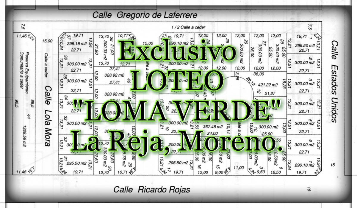 lotes, en la reja, loma verde, anticipo y cuotas, of 1566