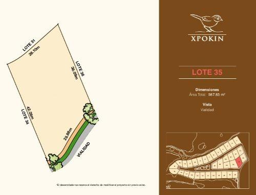 lotes residenciales  privada xpokin, en yucatán country club, frente a vialidad