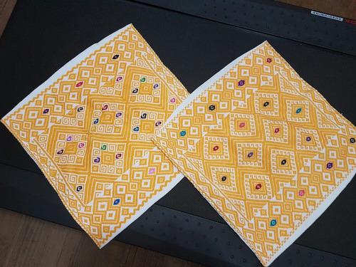lote/set de 12 cogines artesanales/ bordados a mano-chiapas