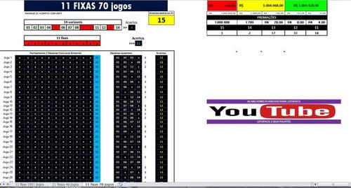 lotofácil 11 fixas em 46, 70 e 1001 jogos 15 pontos