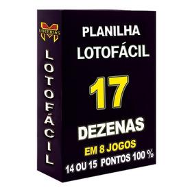 Lotofácil Planilha  Com 17 Dezenas 14 Pontos 100%