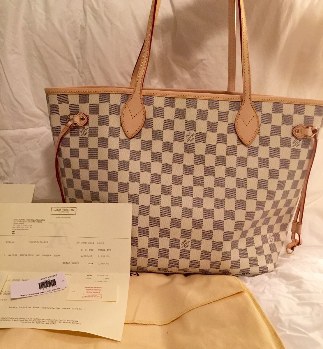 72d69897f3 Louis Vuitton Neverfull Damier Azur Lv Bolsa!!! - $ 7,500.00 en ...