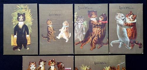 louis wain. mazawattee. 1910 antiguo único set postal card