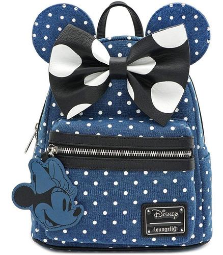 loungefly x minnie mouse denim polka dot mini backpack
