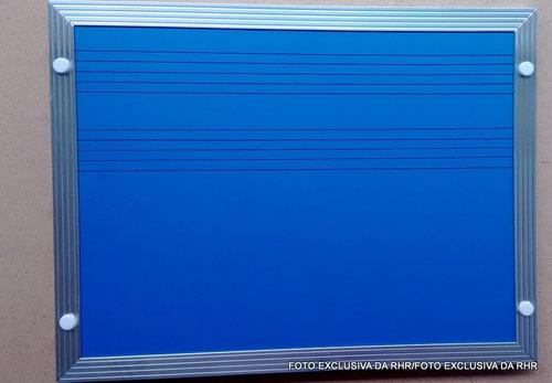 lousa azul 2 pentagramas p/ música - tamanho 1,20m x 0,90m