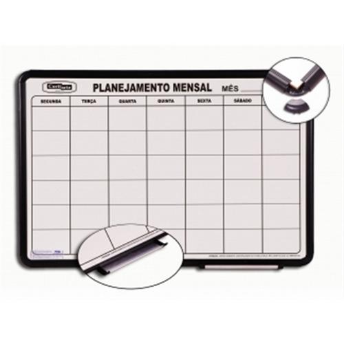 lousa magnetica planejamento mensal aluminio 90x60cm