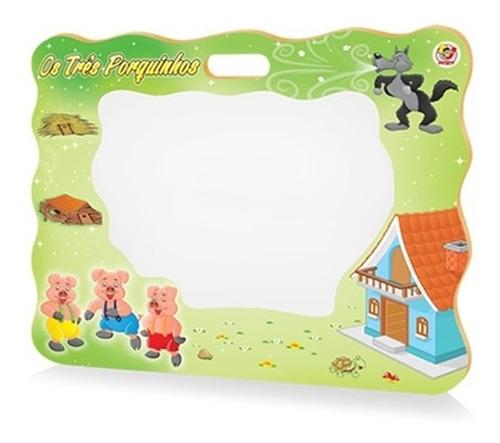 lousa quadro branco infantil tres porquinhos + caneta apagad