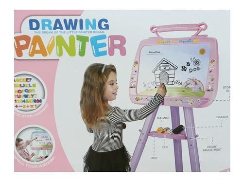 lousa quadro branco magnetico infantil com cavalete menina