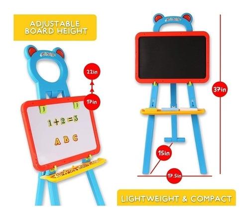 lousa quadro magnetico infantil 84 peças kit 3 em 1 cavalete