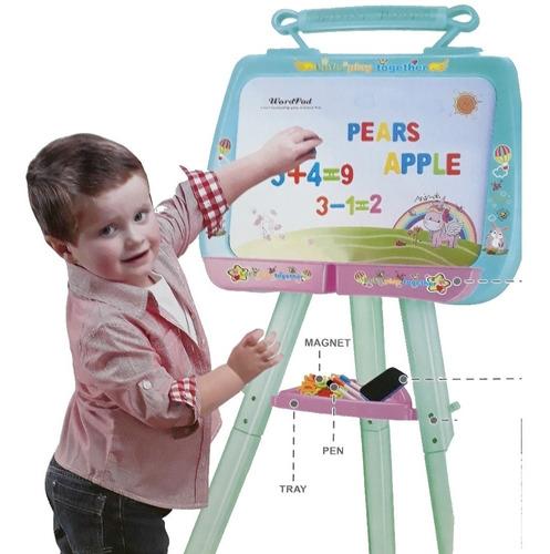 lousa quadro magnetico infantil pedestal didatico completo