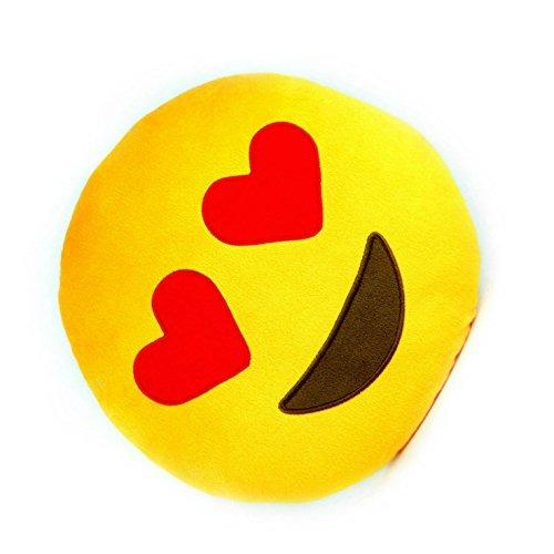 Love Emoji Plush Round Pillow Heart Eyes
