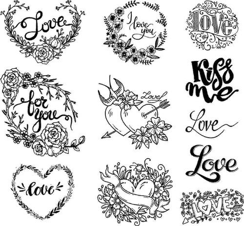 love - kit sellos scrapbook recuerdos invitaciones m-2