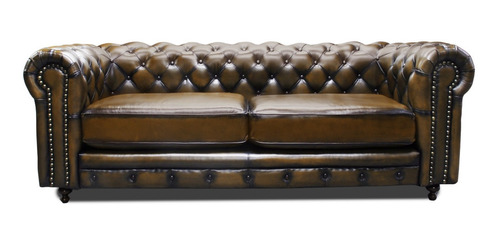 love seat piel genuina - chesterfield  descuento contado
