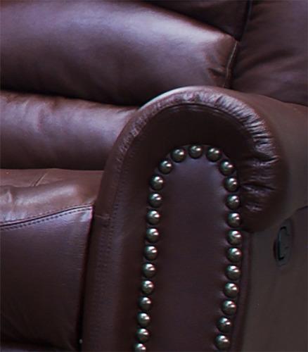 love seat reclinable piel genuina oxford - confortopiel