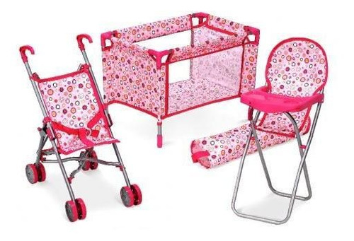 love set cochecito de muñecas + cuna + silla 4981