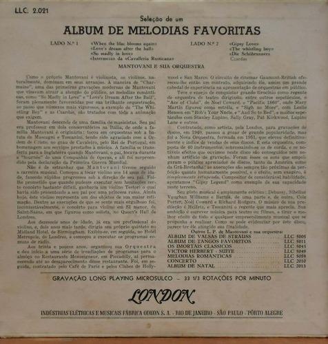 lp (1002) 10 pol. - mantovani - álbum de melodias favoritas