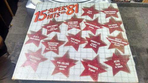 lp 15 super hits del 81 en formato acetato,long play