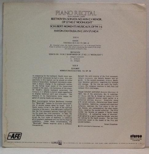 lp a piano recital by ernst groschel - beethoven - schubert