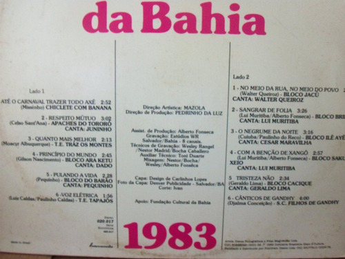 lp alegria carnaval bahia 1982 tapajós barão traz montes ilê