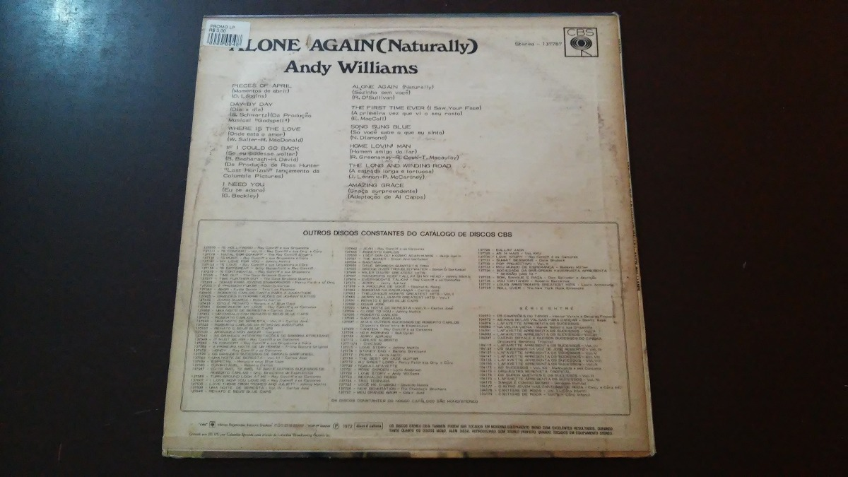 Lp Andy Williams - Alone Again (naturally)