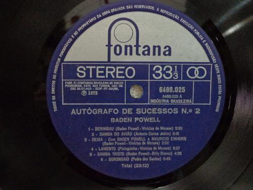 lp baden powell-no. 2-fontana - 1973 - autografo de sucessos