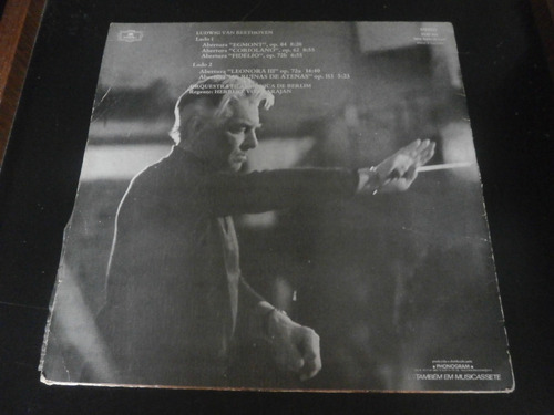 lp beethoven - aberturas, hebert von karajan, vinil de 1975