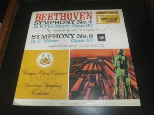 lp beethoven, symphony nº4 e 5 op.60 e op.67, vinil de 1982