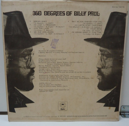 lp billy paul - 360 degrees of - selo epic - 1973
