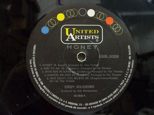 lp bobby goldsboro - honey- united artists
