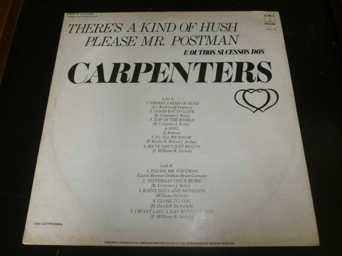 lp carpenters  please mr. postman e outros, disco vinil 1970